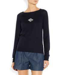 Band Of Outsiders Monogrammed Silk and Cashmereblend Sweater - Lyst