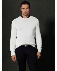 Ralph Lauren Purple Label Beige Buttoned-shoulder Sweater - Lyst