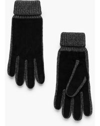 Mango - Contrast Leather Gloves - Lyst
