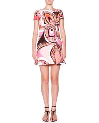 Emilio Pucci Cap-sleeve Boat-neck Printed Shift Dress - Lyst