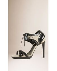 Burberry | Leather And Linen Lace-up Sandals | Lyst