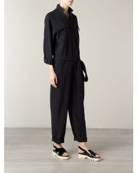 Harvey Faircloth - Long-Sleeved Belted Jumpsuit - Lyst