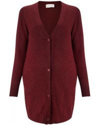 American Vintage V-Neck Buttoned Cardigan red - Lyst