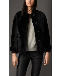 Burberry Reverse Shearling Jacket black - Lyst