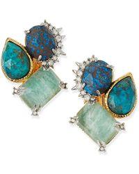 Alexis Bittar Amazonite Crystal Clip-On Stud Earrings - Lyst