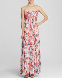 JS Collections Gown - Strapless Printed Chiffon - Lyst