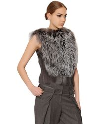 Maison Martin Margiela Silver Fox Fur & Goat Hair Top - Lyst