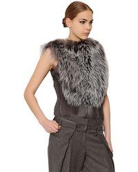 Maison Margiela Silver Fox Fur & Goat Hair Top - Lyst