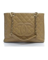 Chanel Pre-owned Beige Caviar Gst Grand Shopping Tote - Lyst