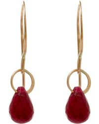 Melissa Joy Manning | Small Gold And Ruby Single Drop Earrings | Lyst