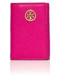 Tory Burch Robinson Pebbled Foldable Key Case - Lyst