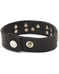 Diesel Albin Aged Black Leather Bracelet with Rusted Lettering - Lyst