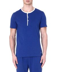 Ralph Lauren Retro Henley Pyjama Top Blue - Lyst