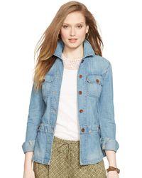 Ralph Lauren Peplum Denim Jacket blue - Lyst