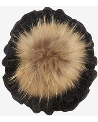 Annabelle New York | Fur Pom Top Cable Knit Hat Black | Lyst