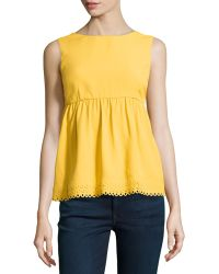 RED Valentino Sleeveless Scalloped Crepe Blouse - Lyst