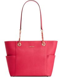 Calvin Klein Saffiano Leather Tote pink - Lyst