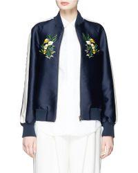 Stella McCartney | 'lorinda' Floral Embroidery Cotton-silk Bomber Jacket | Lyst