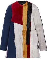 Jo No Fui - Colorblocked Wool Kid Lamb And Shearling Overcoat - Lyst