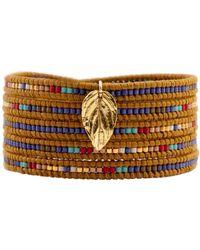 Chan Luu Blue Mix Charm Wrap Bracelet brown - Lyst