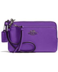 Coach Madison Double Zip Wristlet in Leather - Lyst