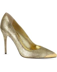 Alexander McQueen Mcq Metal Capped Court Shoes Gold - Lyst