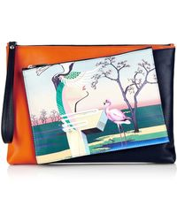 Mary Katrantzou Flamingo-Print Detachable Leather Clutch - Lyst