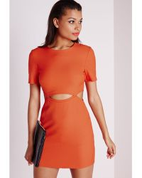Missguided Crepe Cut Out Waist Shift Dress Orange - Lyst