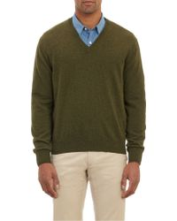 Barneys New York Cashmere Vneck Pullover Sweater - Lyst