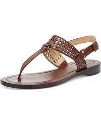 Frye Rachel Perforated Leather Flat Slingback Thong Sandal - Lyst