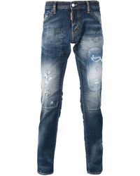DSquared2 Distressed Patchwork Jeans - Lyst