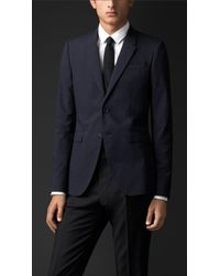 Burberry Cotton Silk Tailored Jacket - Lyst