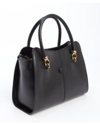 Tod's Black Leather Small Top Handle Tote - Lyst