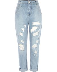 River Island Light Wash Distressed Mom Jeans - Lyst