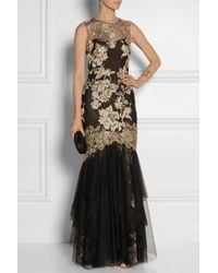 Notte By Marchesa Metallic Embroidered Tulle Gown - Lyst