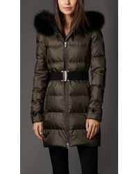 Burberry Down-filled Coat with Fox Fur Trim - Lyst