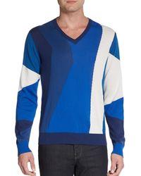 Etro Geometric Colorblocked Cotton Sweater - Lyst