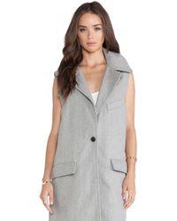 Joa Gray Sleeveless Coat - Lyst