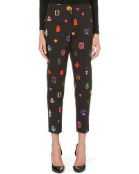 Markus Lupfer Jewelled Tailored Trousers Black - Lyst