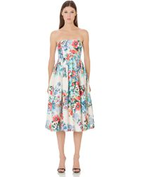 Cynthia Rowley Strapless Floral Print Dress - Lyst