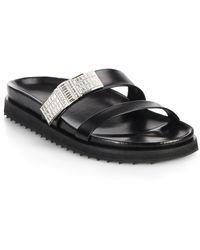 Alexander McQueen Swarovski Crystal Leather Slide Sandals - Lyst