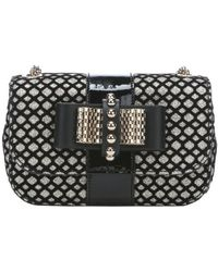 Christian Louboutin Black Glitter Flocked Suede And Leather 'Sweety Charity' Shoulder Bag - Lyst