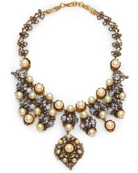 Erickson Beamon Stratosphere Crystal & Faux Pearl Statement Bib Necklace - Lyst