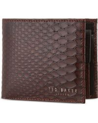 Ted Baker Exotic Embossed Bifold Leather Wallet Black - Lyst