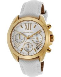Michael Kors Womens Bradshaw Mini Chronograph Silver Tone Dial White Genuine Leather - Lyst