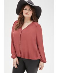 Forever 21 Lace Paneled Blouse - Lyst