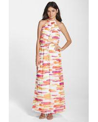 Vince Camuto Printed Chiffon Maxi Dress - Lyst
