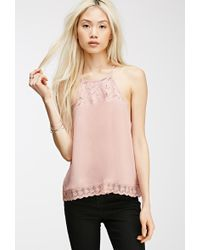 Forever 21 Lace-Paneled Halter Top - Lyst