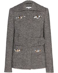 Carven Wool-blend Jacket with Faux-fur - Lyst