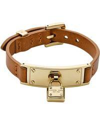Michael Kors Goldtone Luggage Leather Wrap Bracelet with Padlock Charm - Lyst